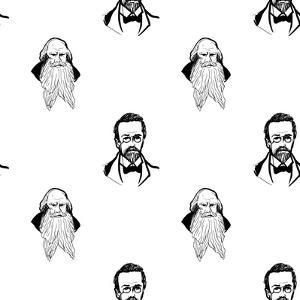 Background with Hand Drawing Inky Portraits of the Great Russian Writers: Chekhov, Tolstoy, Pushkin by Sopelkin
