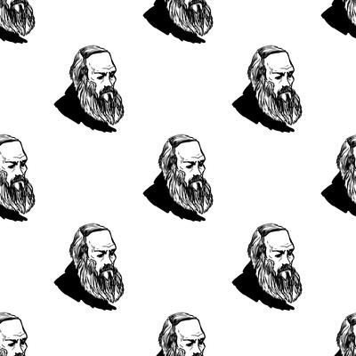 Background with Hand Drawing Inky Portraits of the Great Russian Writers: Dostoevsky. Vector Seamle