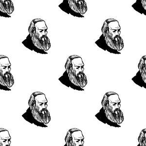 Background with Hand Drawing Inky Portraits of the Great Russian Writers: Dostoevsky. Vector Seamle by Sopelkin