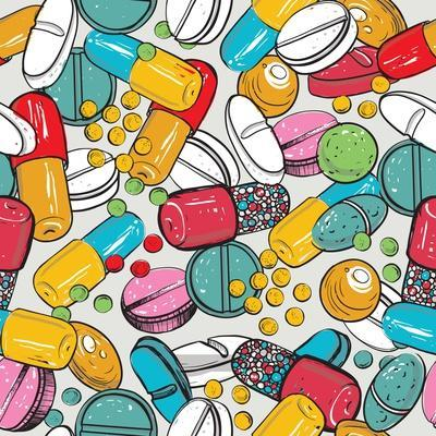 Healthcare Background with Dragee, Pilule, Pill, Caplet, Capsule, Tablet, Aspirin. Hand Drawing Vec