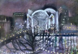 Embankment Station, from the South Bank, 1995 by Sophia Elliot
