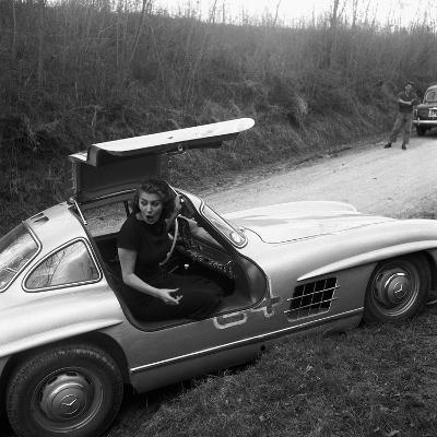 Sophia Loren Sitting Into Her Mercedes at Third Cinema Rally--Photographic Print