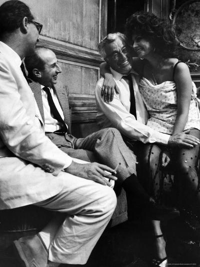 "Sophia Loren Sitting on Director Vittorio de Sica's Lap During Filming ""Marriage, Italian Style""-Alfred Eisenstaedt-Premium Photographic Print"
