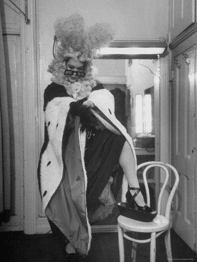 Soprano Patrice Munsel Costumed as Notary for Cosi Fan Tutte, Pulling onGloves in Dressing Room-Peter Stackpole-Premium Photographic Print