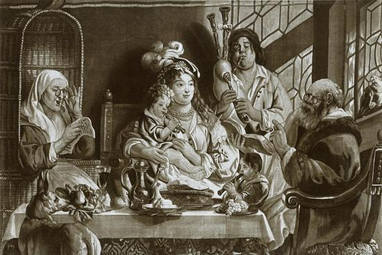 'Soprano recorders and bagpipes; Brussels gobelin designed by Jacobus Jordaens', 1948-Unknown-Giclee Print