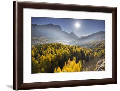 Sorapiss, Larches, Sun, Cortina D'Ampezzo, Veneto, the Dolomites, Italy-Rainer Mirau-Framed Photographic Print