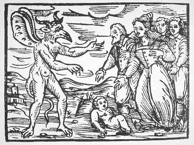 Sorcerers Presenting a Child to the Devil, from 'Compendium Maleticarum' by Fr M Guaccius (1608)…--Giclee Print