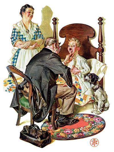 """""""Sore Throat,""""November 22, 1930-Joseph Christian Leyendecker-Giclee Print"""