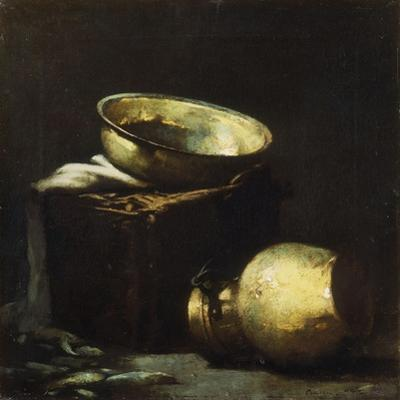 Still Life with Copper Pots and Black Fish by Soren Emil		 Carlsen