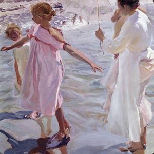 Bath time, Valencia (1909). Oil on canvas. 150x150,5 cm by Sorolla Joaquin
