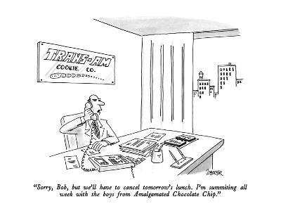 """""""Sorry, Bob, but we'll have to cancel tomorrow's lunch.  I'm summiting all?"""" - New Yorker Cartoon-Jack Ziegler-Premium Giclee Print"""