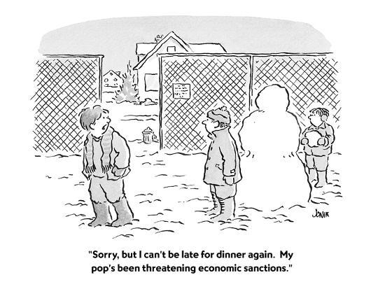 """Sorry, but I can't be late for dinner again.  My pop's been threatening e?"" - Cartoon-John Jonik-Premium Giclee Print"