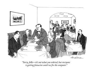 """Sorry folks?it's not what you ordered, but everyone is getting fettucine ?-J.B. Handelsman-Premium Giclee Print"