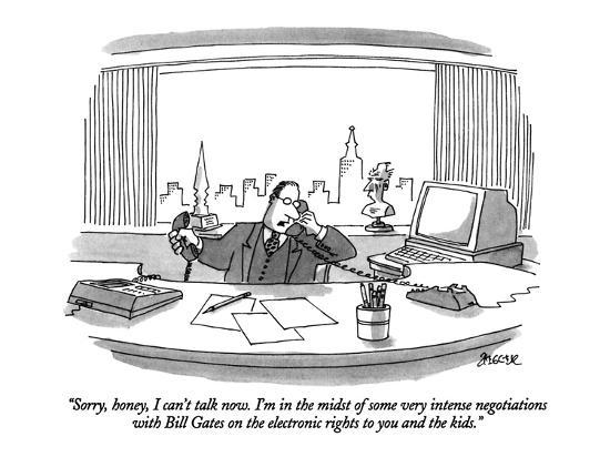"""""""Sorry, honey, I can't talk now.  I'm in the midst of some very intense ne?"""" - New Yorker Cartoon-Jack Ziegler-Premium Giclee Print"""