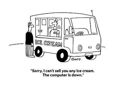 """""""Sorry, I can't sell you any ice cream.  The computer is down."""" - Cartoon-Ted Goff-Premium Giclee Print"""