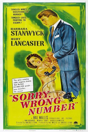 SORRY, WRONG NUMBER, US poster, from left: Barbara Stanwyck, Burt Lancaster, 1948--Art Print