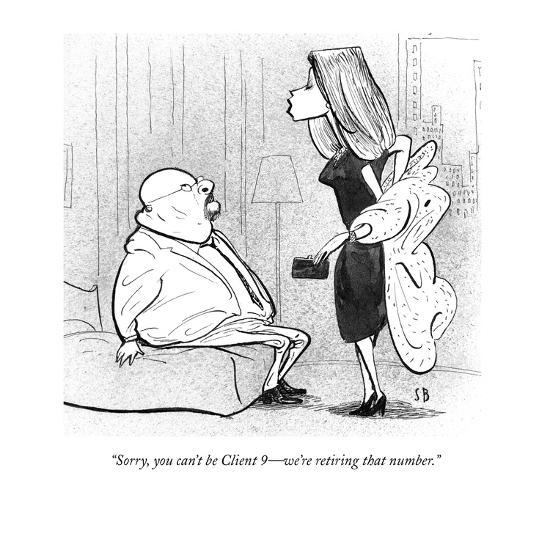 """Sorry, you can't be Client 9?we're retiring that number."" - New Yorker Cartoon-Steve Brodner-Premium Giclee Print"