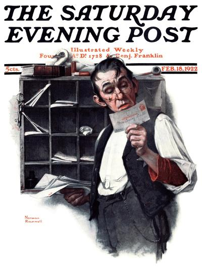 """""""Sorting the Mail"""" Saturday Evening Post Cover, February 18,1922-Norman Rockwell-Giclee Print"""