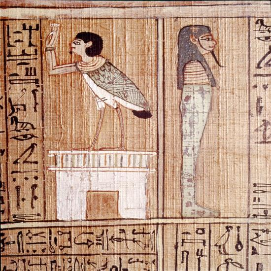 Soul-bird & Mummy, Book of the Dead, Egyptian Papyrus of Ani, Thebes, c1250BC-Unknown-Giclee Print