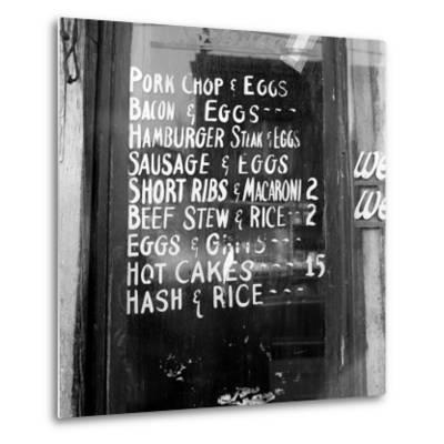 Soul Food; Menu in the Window of a Restaurant, Detroit, Michigan, 1940