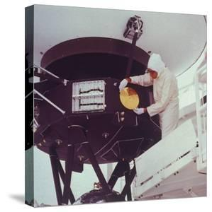 """""""Sounds of Earth"""" Gold-Plated Copper Record Mounted on Voyager 2 Spacecraft, Kennedy Space Center"""