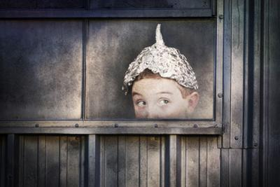 Boy in a Tin Foil Hat Peeking Out of a Window by soupstock