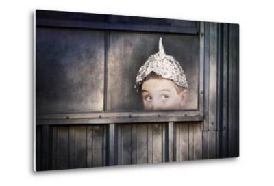 Boy in a Tin Foil Hat Peeking Out of a Window by soupstock