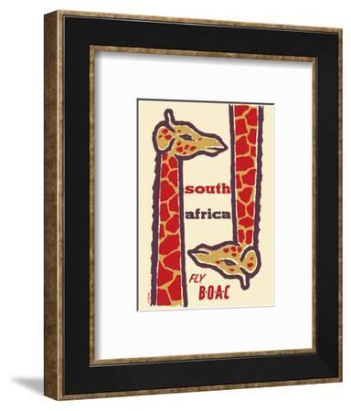 South Africa- Giraffes - Fly BOAC (British Overseas Airways Corporation)-H. Niezen-Framed Art Print