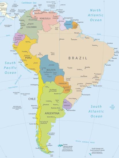 South America-Highly Detailed Map-ekler-Art Print