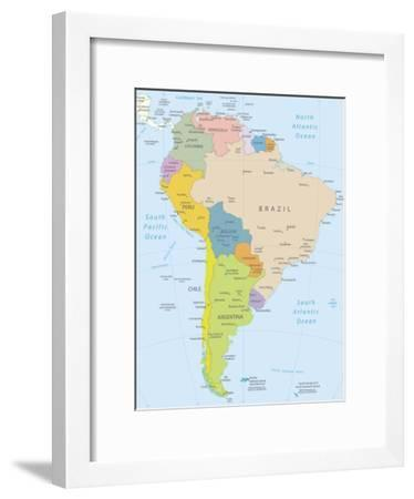 Detailed Map Of America.South America Highly Detailed Map Art Print By Ekler Art Com