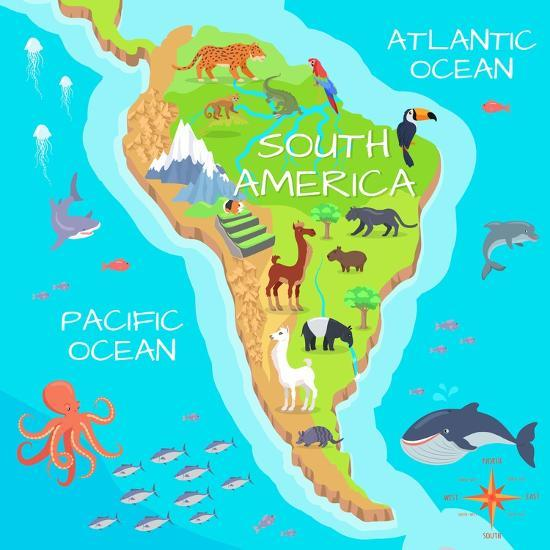 South America Mainland Cartoon Map with Fauna Species. Cute American on