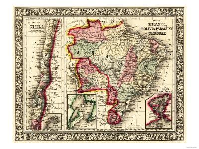 South America - Panoramic Map-Lantern Press-Art Print