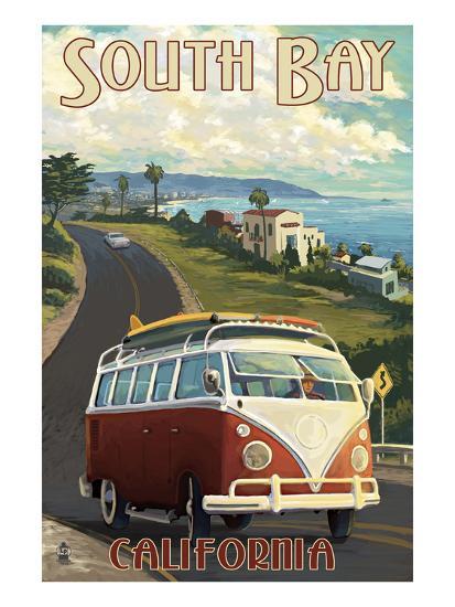South Bay, California - VW Van Cruise-Lantern Press-Art Print
