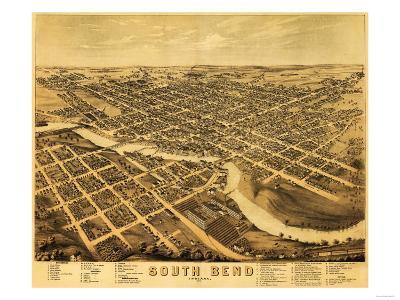 South Bend, Indiana - Panoramic Map-Lantern Press-Art Print