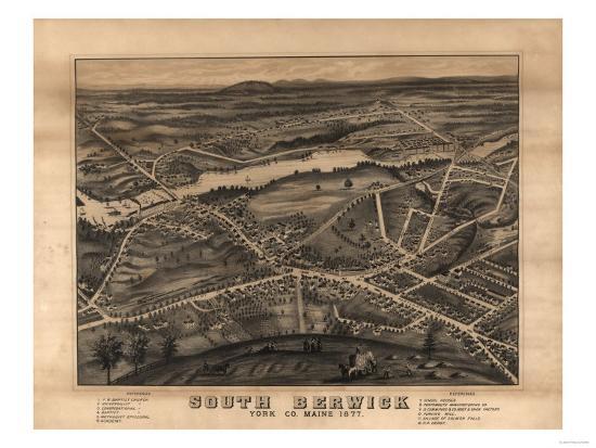 South Berwick, Maine - Panoramic Map-Lantern Press-Art Print