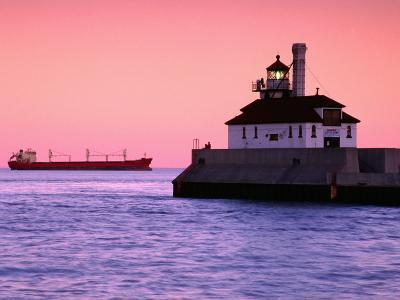 South Breakwater Outer Lighthouse at Dawn, with Ship on Horizon, Duluth Harbor, Duluth, USA-Richard Cummins-Photographic Print