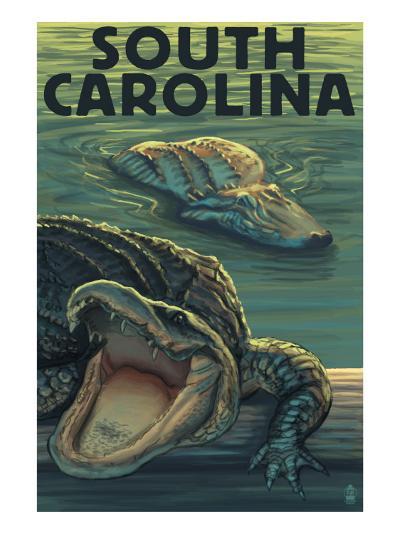 South Carolina - Alligators-Lantern Press-Art Print