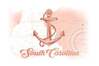 South Carolina - Anchor - Coral - Coastal Icon-Lantern Press-Art Print