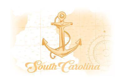 South Carolina - Anchor - Yellow - Coastal Icon-Lantern Press-Art Print