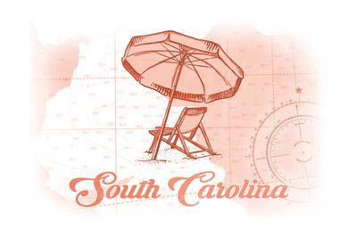 South Carolina - Beach Chair and Umbrella - Coral - Coastal Icon-Lantern Press-Art Print