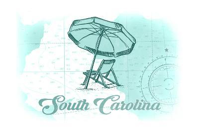 South Carolina - Beach Chair and Umbrella - Teal - Coastal Icon-Lantern Press-Art Print