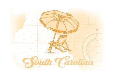 South Carolina - Beach Chair and Umbrella - Yellow - Coastal Icon-Lantern Press-Art Print