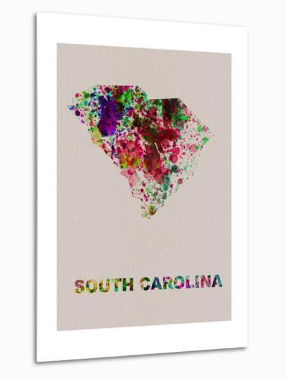 South Carolina Color Splatter Map-NaxArt-Metal Print