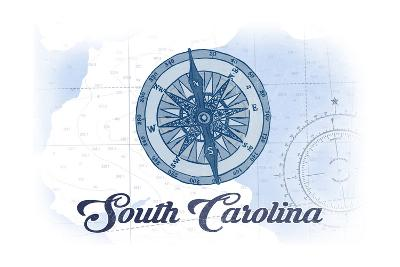South Carolina - Compass - Blue - Coastal Icon-Lantern Press-Art Print