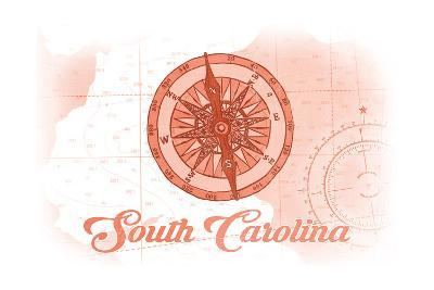 South Carolina - Compass - Coral - Coastal Icon-Lantern Press-Art Print