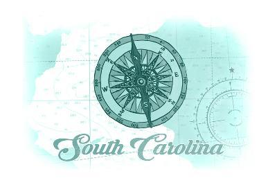 South Carolina - Compass - Teal - Coastal Icon-Lantern Press-Art Print
