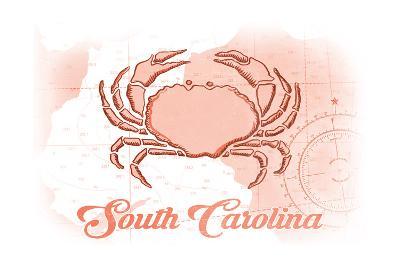 South Carolina - Crab - Coral - Coastal Icon-Lantern Press-Art Print
