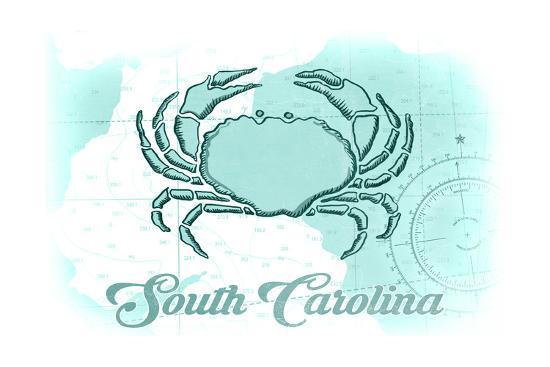 South Carolina - Crab - Teal - Coastal Icon-Lantern Press-Art Print