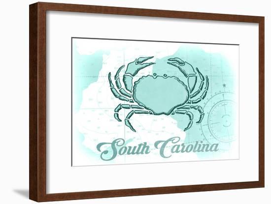 South Carolina - Crab - Teal - Coastal Icon-Lantern Press-Framed Art Print
