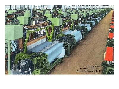 South Carolina - Greenville County Textile Mill Weave Room-Lantern Press-Art Print
